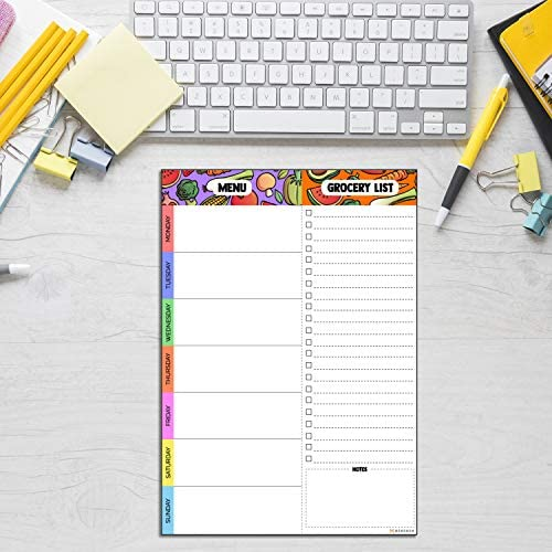 Magnetic Meal Planning Pad   7x10 inch Fridge Notepads for Organized Daily & Weekly Planner   Tear-Off Grocery List Checklist for Convenient Shopping   Notepad with Magnet for Refrigerator or Desk 6