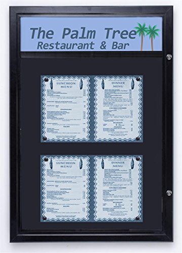 Displays2go Outdoor Notice Board with Magnetic Surface, Hinged Swing Open Door and Optional Header Bar, Rubber Gaskets, Aluminum/Black (ODM11173HS) by Displays2go