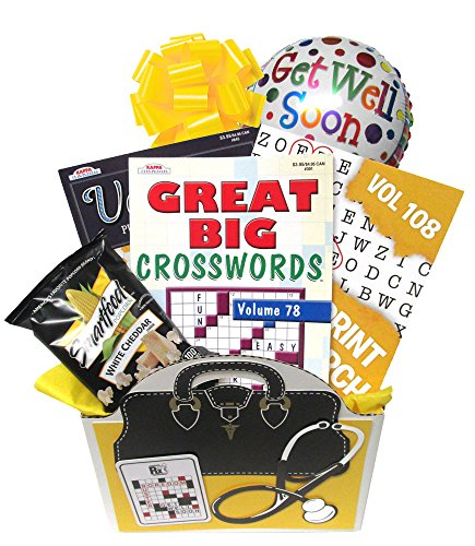 Get Well Soon Gift Basket: Boredom Buster for Men, Women, Teens – Recovery or After Surgery Gift with Puzzle Books for Ages 13 to 113