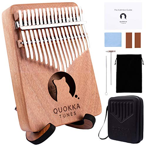 Kalimba 17 Key Thumb Piano - QT Sensory Therapy Finger Piano Mbira Unique Gifts Cool Musical Instruments Portable Interesting Finds Professional Wood Tuning Hammer Songbook Hard Case Stand Adults Kids