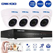 OWSOO 4CH Full 960H/D1 CCTV Surveillance DVR Security System HDMI P2P Cloud Network Digital Video Recorder with 4x 800TVL Indoor Infrared Dome Camera, Support IR-CUT Night Vision Plug and Play - White