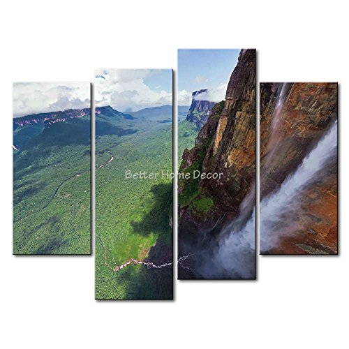 YEHO Art Gallery Painting Angel Falls Valley Trees Cliff Print On Canvas The Picture Landscape - Pictures Valley Paradise