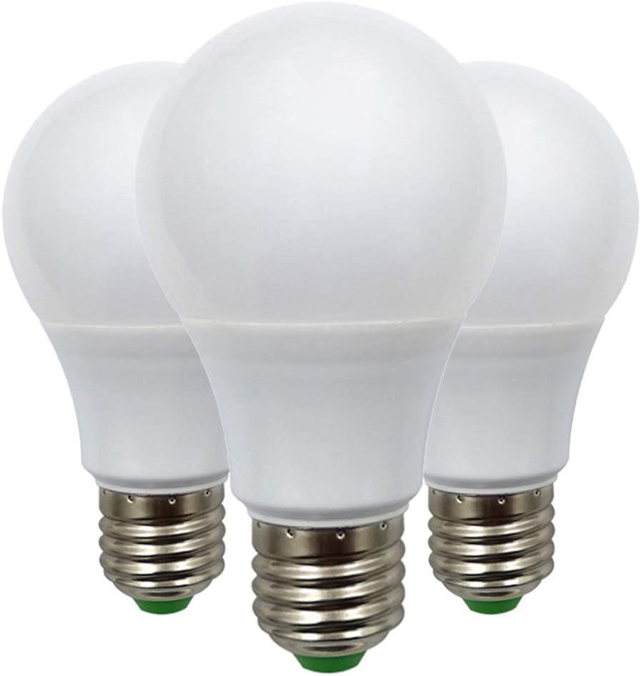 E27 Bombilla LED de Rosca Edison de 7W ( 60W ), Bombilla de Globo A70 ES, 12V Bajo Voltaje, Ideal Para Iluminación Solar Fuera de la Rejilla, Barco, Caravana, luz Blanca Frío, 6000K, Pack de 3