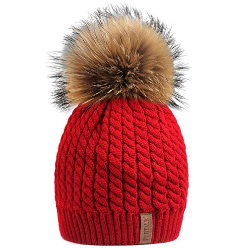 Red Hats Crochet Hat (FURTALK Women Lady Girls Crochet Knit Fur Hat With Real Fox Fur Pom Pom Bobble Winter Beanie Hat (Red))