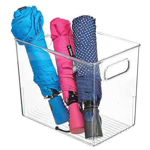 mDesign Plastic Closet Home Storage Bin Container with Built-in Handles Cube Organizer Tote – for Closet, Bedroom…