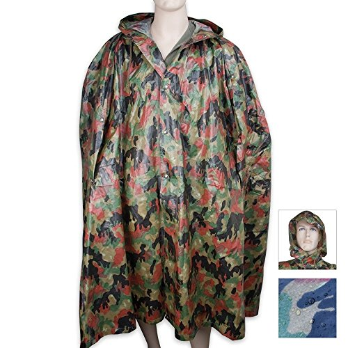 Military Surplus Swiss Alpenflage Camo Wet Weather Gear Poncho