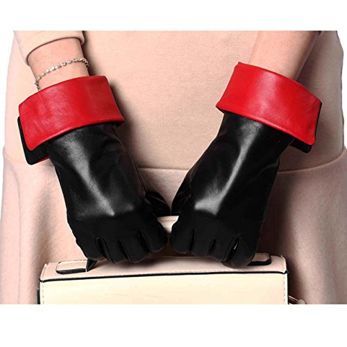 YISEVEN Women's Touchscreen Sheepskin Cuffed Leather Gloves Diva Stylish  Black Red 6.5/S