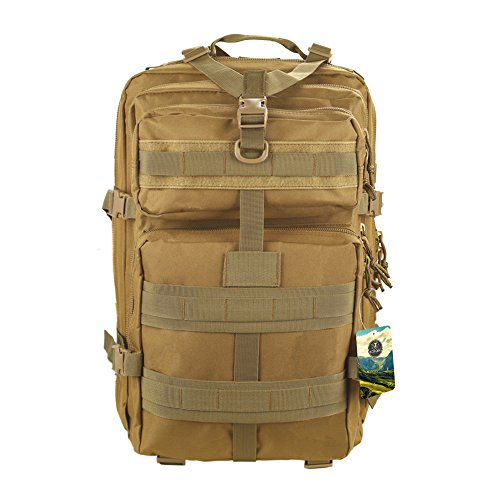 Tactical Backpack,TOPQSC Waterproof 600D Oxford fabric Outdoor Tactical Bag Shoulder Expandable Hunting Tactical Daypack&Sport Casual Backpack for Camping Trekking Travel Hunting 45L Medium Khaki