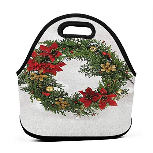 Rugged Lunchbox Christmas,Floral Wreath Cultural Design Poinsettia Blossoms Holly Pine Cone Branches, Green Red Gold,hard lined lunch bag for men