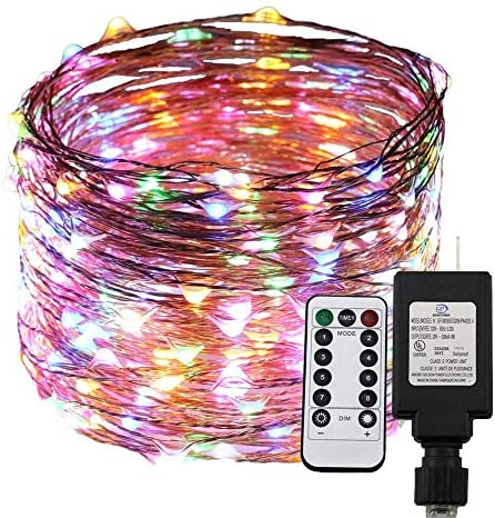 RUICHEN Dimable Led String Lights Plug in with Remote Timer, 100Ft 30M 300 LEDs Copper Wire Fairy Starry Lights, UL Listed, Ideal for Bedroom, Parties, Wedding, Christmas Multicolor