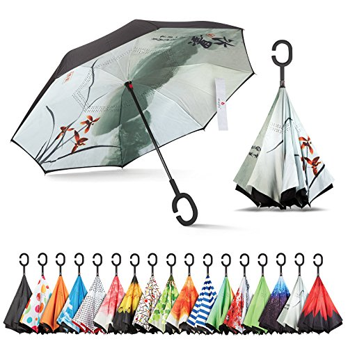 Inverted Umbrella, Best Windproof Umbrella, Cars Reverse Umbrella, Beautiful Rain Umbrella with UV Protection, Upside Down Umbrella with C-Shaped Handle and Carrying Bag (Chinese Ink Painting) ()
