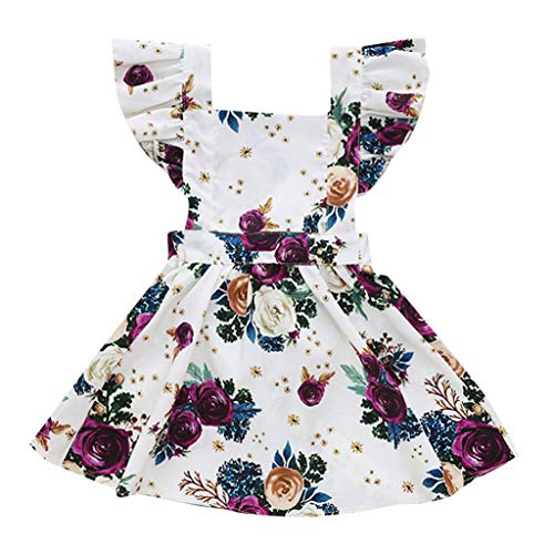 WOCACHI Toddler Baby Girls Dresses, Kids Baby Girls Flower Print Princess Ruffled Dress Sundress Summer Infant Bodysuits Rompers Clothing Sets Christening Short Sleeve Organic Cotton 0-3T White ()