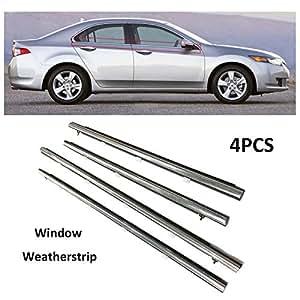 window honda acura seal door trim 2009 tsx weatherstrip chrome sedan belt outside 4pcs motorfansclub weather replacement stripping lower