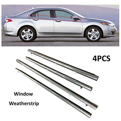 MotorFansClub 4PCS Weatherstrip Window Seal only fit for Honda Acura Honda Sedan TSX 2009 2010 2011 2012 2013 2014, Chrome Door Outside Trim Seal Belt