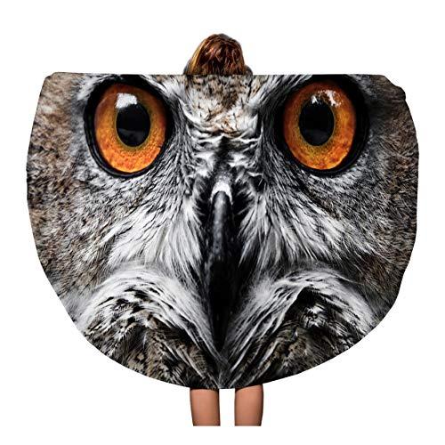 Pinbeam Beach Towel Orange Barn Owls Portrait Eyes Yellow Close Flying Travel 60 inches Round Tapestry Beach Blanket ()