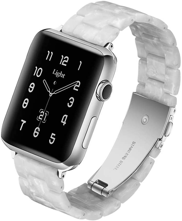 Light Apple Watch Band - Fashion Resin iWatch Band Bracelet Compatible with Copper Stainless Steel Buckle for Apple Watch Series SE Series 6 Series 5 Series 4 Series 3 Series 2 Series1 (Pearl White, 38mm/40mm)