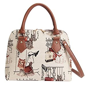 Signare Women's Tapestry Convertible Top Handle Handbag with Detachable Strap to Convert to Shoulder Bag with Westie, Scottie and Yorkie Dog (CONV-FSDOG)
