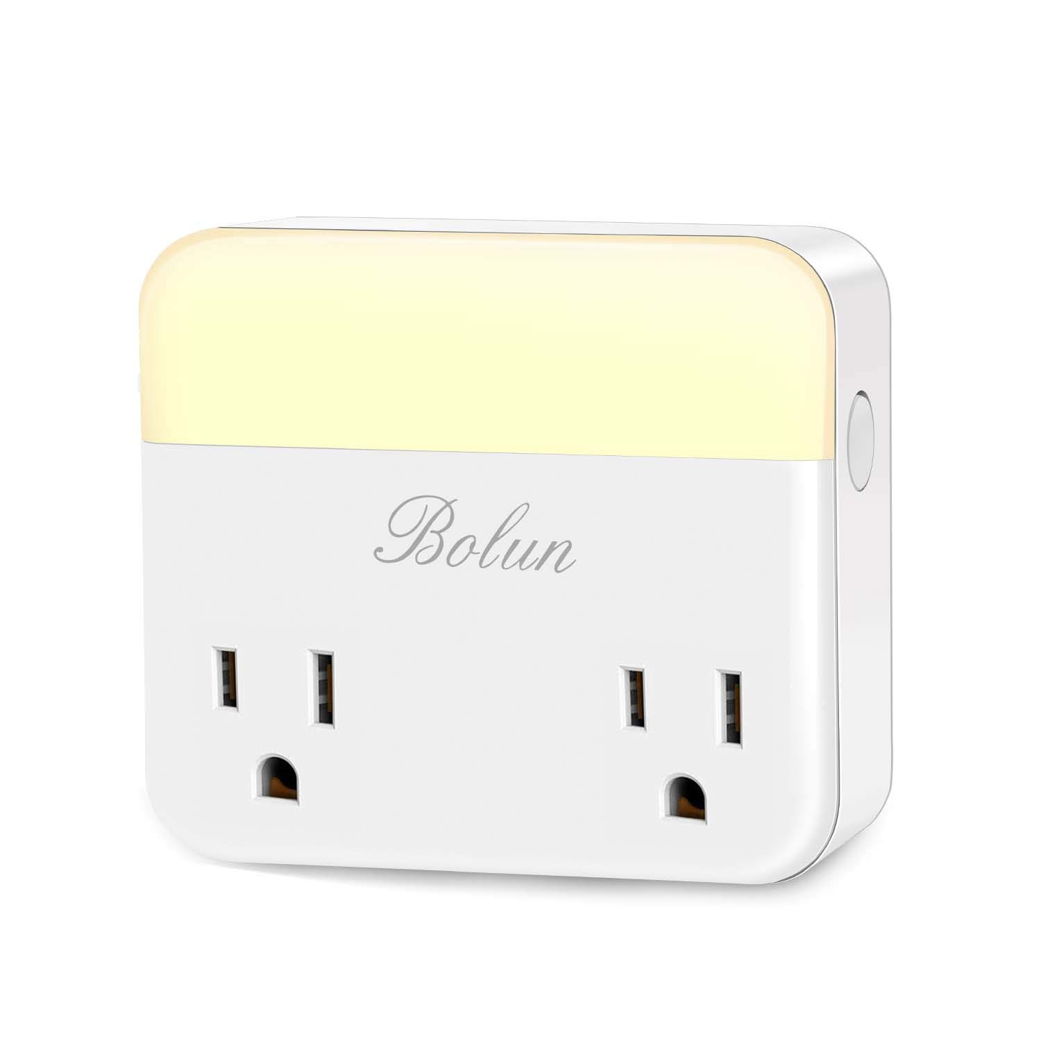 BOLUN L Smart Plug WiFi Night Light, Works with Alexa, Echo, Google Home IFTTT, Wireless Remote Control Outlet/Timer Function, Adjustable Brightness (0%-100%)- 1 Pack