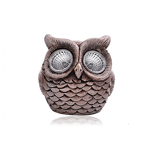 Solar Powered Owls,Powered by Solar LED Garden Light,Cement Owl Night Figuine Glow for Park, Patio, Deck, Yard, Garden, Home, Pathway, Outside ()