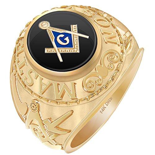 (Men's 14k Yellow Gold Master Mason Simulated Onyx High Polish Freemason Ring, Size 11)