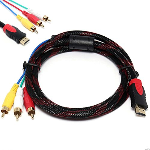 Tv 1080i Resolution (DZT1968 1.5M HDMI Male To 3 RCA AV strain-relief Audio Video 5FT Cable Cord Adapter For TV HDTV DVD 1080p)
