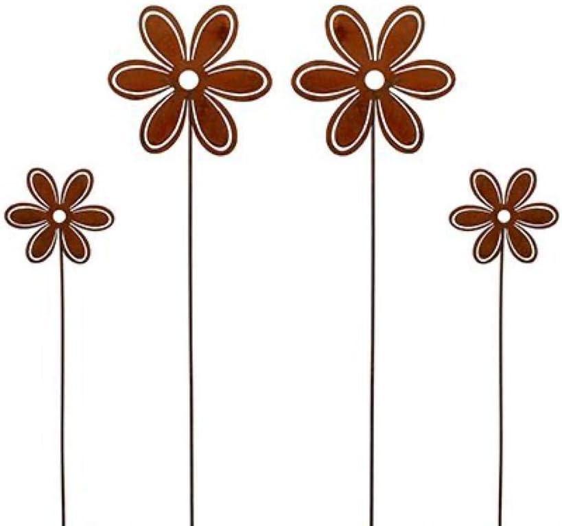 2 x Metall Stecker Vogel mit Blume Edelrost Topfdeko zum stecken V/ögelchen 2er-Set