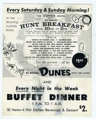 Dunes Hotel & Casino Buffet & Hunt Breakfast Postcard Las Vegas Nevada