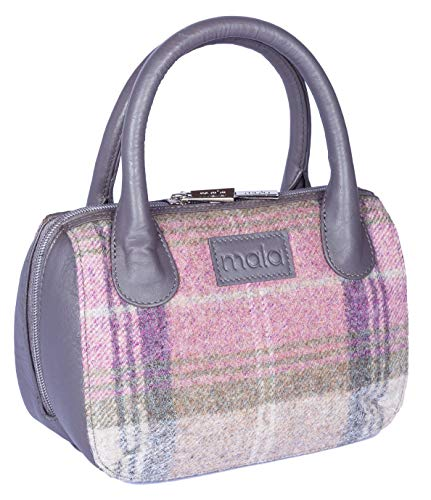 KWH Mala Abertweed Collection British Leather in Slate Grey with Pink & Grey Tweed Grab Purse Handbag ()