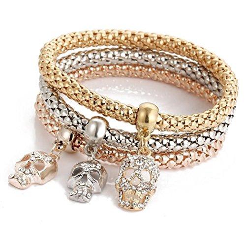 Clearance ! Yang-Yi Fashion Hot Women 3pcs Charm Women Bracelet Gold Silver Rose Gold Rhinestone Bangle Jewelry Chain Set (F, 18-22CM)