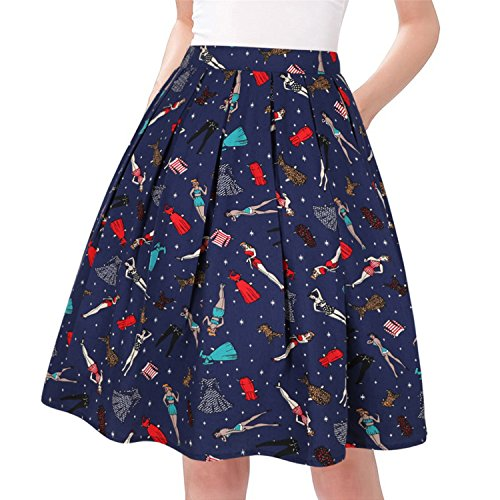Taydey A-Line Pleated Vintage Skirts for Women (2XL, Lady Dress)