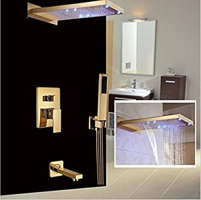 GOWE Classic Wall Mount Golden Shower Faucet LED Light Waterfall & Rainfall Showerhead Tub Shower Mixer Taps