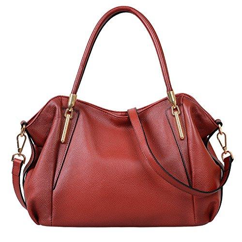 Women's new fashion Satchel Handbag Genuine Leather shoulder bag(red) - 7