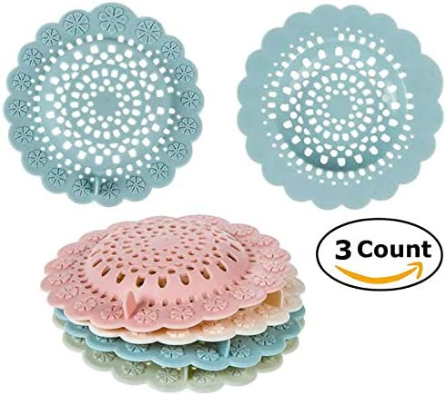 Bath Tub Shower Hair Catchers Stopper Sink Strainer Sewer Filter 3-Pk Kitchen Floor Drain Protector Colors may vary