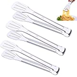 AIYoo Kitchen Tongs Premium Pack of 3×9.45inch 18/8 (304) Stainless Steel Tongs Set,Barbecue Tongs Cooking Tongs Salad Baking Tongs Serving Tongs Buffet Tongs Silver Homemaker Salad Gripper Clip Tool