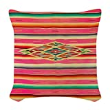 CafePress - Vintage Pink Mexican Serape - Woven Throw Pillow, Decorative Accent Pillow