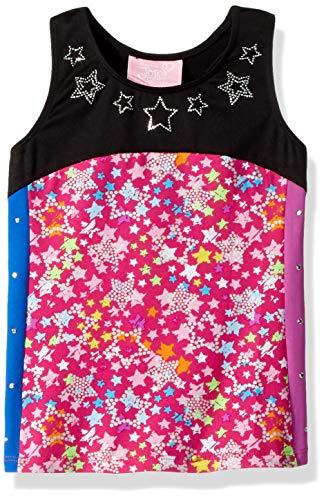 Jojo Siwa By Danskin Girls' Big Colorful Sparkle Tank Top, Pink Stars, Small