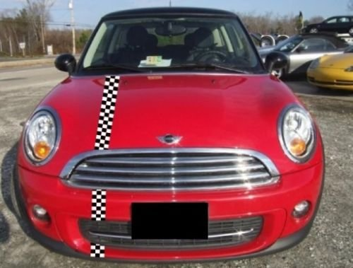 Mini Cooper Checkered Offset Bonnet and Boot Rally Stripes Racing Stripe ()
