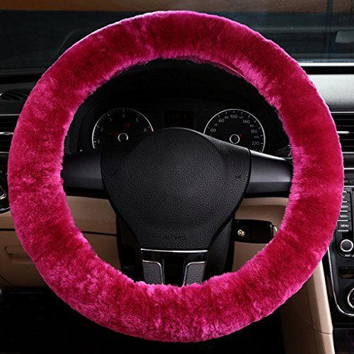 (Fakeface Clobeau Universal Premium Soft Cashmere Vehicle Steering Wheel Cover Stretchy Plush Winter Warm Non-Slip Protector Guard Trunk Car Accessories)