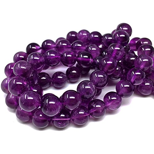 Chengmu 8mm Amethyst Beads for Jewelry Making Natural Gemstone Round Loose Stone Spacer Beads Assortments Supplies Accessories for Bracelet Necklace with Elastic Cord