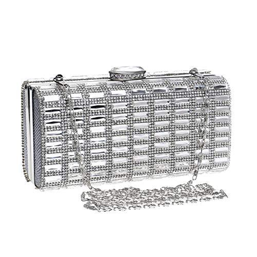 Femmes Main Carré Sac fonctionnel Fourre Fête Silver Banquet Bandoulière Réunir Diamant Multi tout Élégant Se Sacs Pochettes Mode À E5aErxWqwp