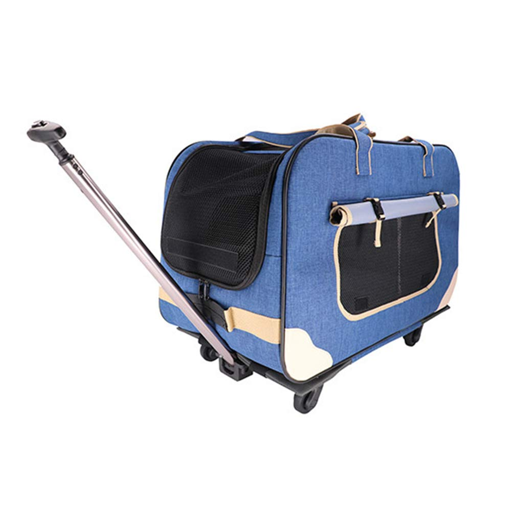 bluee Pet Carrier with Removeable Wheels, Pet Carrier Rolling Backpack, Mute Adjustable Rod Ventilation, for Cats Dogs Small Animal