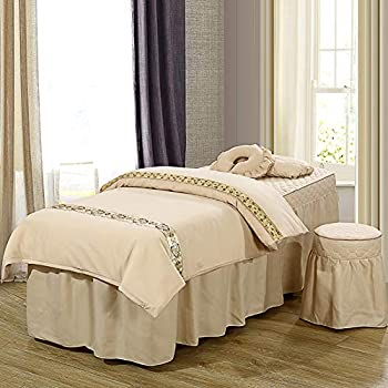 Image of ALHBNAY Korean Beauty Bed Cover 4 Pices, Salon Body Fumigation Physiotherapy Massage Bed Skirt Sheet-D 70x190x55cm Home and Kitchen