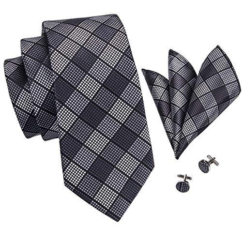 Barry.Wang Plaid Ties Silk Pocket Squares Cufflink Necktie Set Black Gray