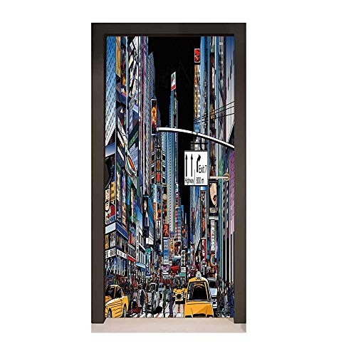 - City Decor Door Mural Cartoon Style New York Night Scene Advertisements Crowded Streets Taxis Highway Exit for Home Decoration Multicolor,W17.1xH78.7