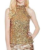 GREFER Women's Tank Tops Shimmer Flashy All Sequins Embellished Sparkle Vest