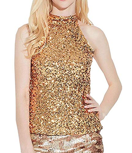 Laimeng_World Women's Shimmer Flashy All Sequins Embellished Sparkle Sleeveless Vest Tank Tops (Gold)