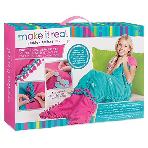 Make It Real  Knot and Bling Mermaid Tail Blanket Educational DIY Arts and Crafts Kit Guides Kids to Create a Knotted Fleece and Sequin Mermaid Tail Wearable Blanket