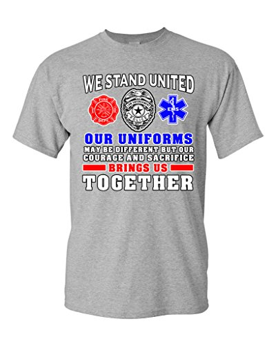 We Stand United Our Uniforms Brings Us Together Proud DT Adult T-Shirt Tee (Small, Sports Gray) (Sexy Firewomen)