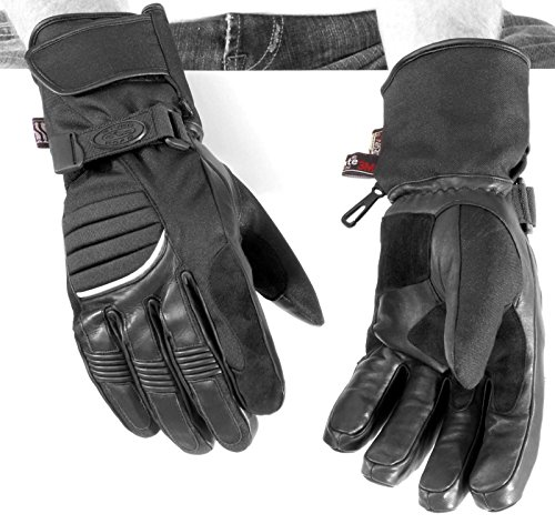 (NEW RIVER ROAD MENS CHEYENNE COLD WEATHER LEATHER GLOVES, BLACK, XS)