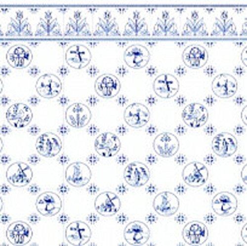 English Delft - Melody Jane Dollhouse Blue White Delft Dutch Tile Miniature Print 1:24 Scale Wallpaper